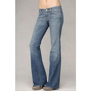 7 For All Mankind Women's Blue Medium Wash Flare